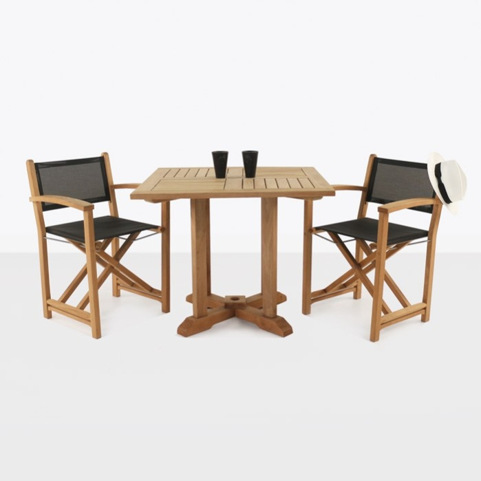 Teak Square Pedestal Table U0026 Cannes Directors Chairs 0