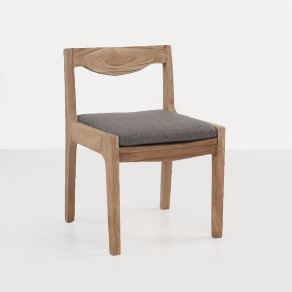 reclaimed teak dining chair with cushion