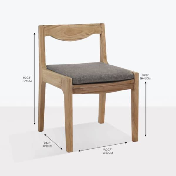 curve teak wood side dining chair