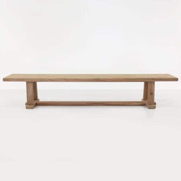 reclaimed teak bench straight