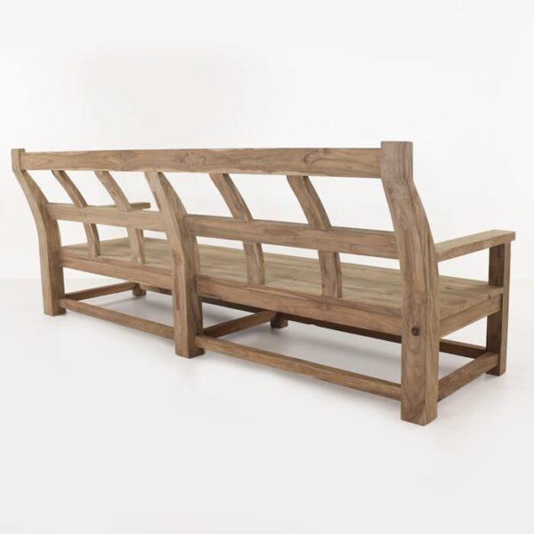 long reclaimed teak bench back view