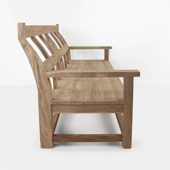 long reclaimed teak bench side view