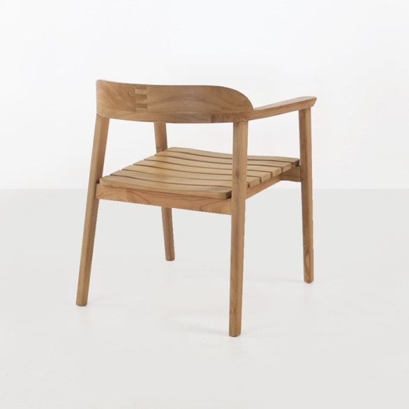 outdoor teak dining chair back view