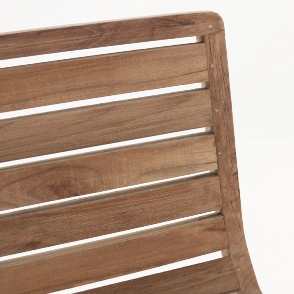 reclaimed teak dining chair close up