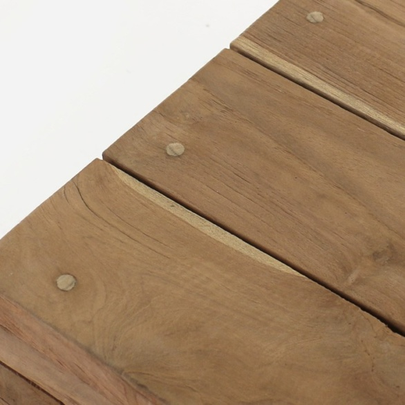 reclaimed teak coffee table close up