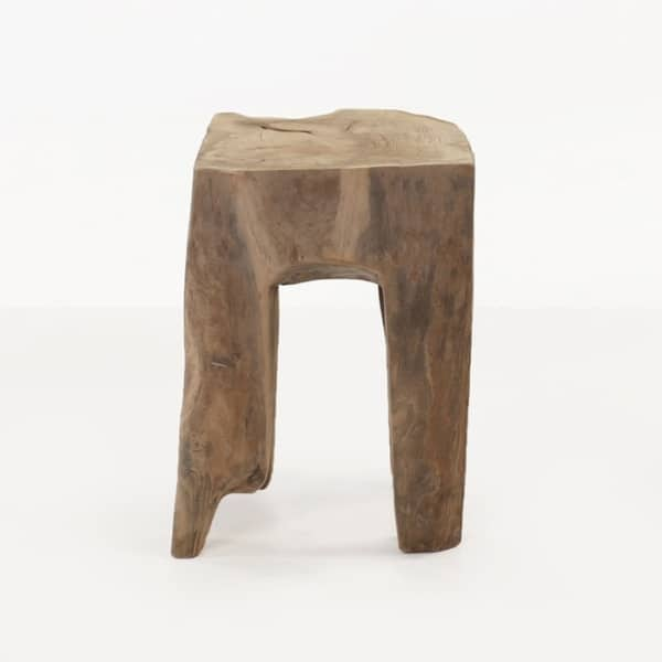 square teak root side table
