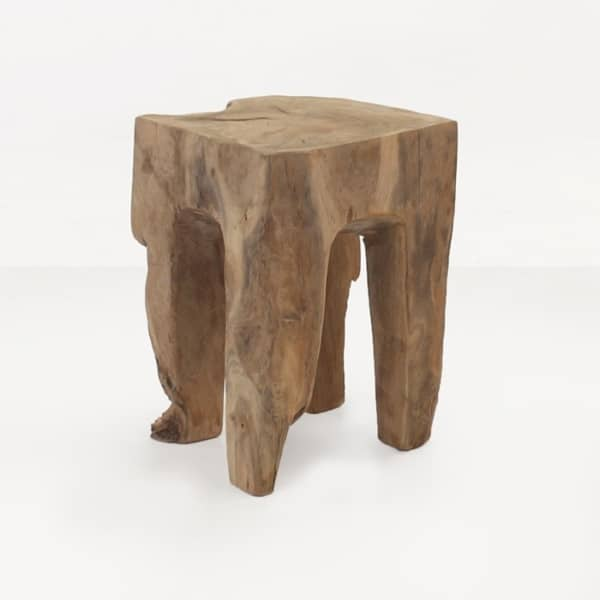square teak root accent table