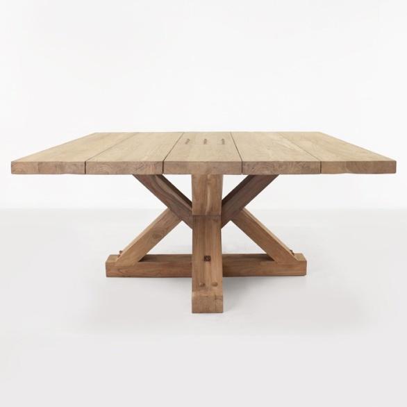 Alex reclaimed teak square outdoor dining table teak for Outdoor teak dining table