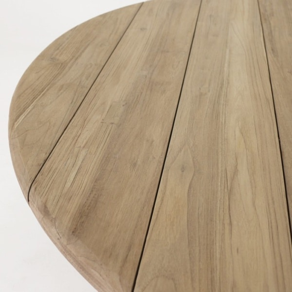 reclaimed teak dining table top close up
