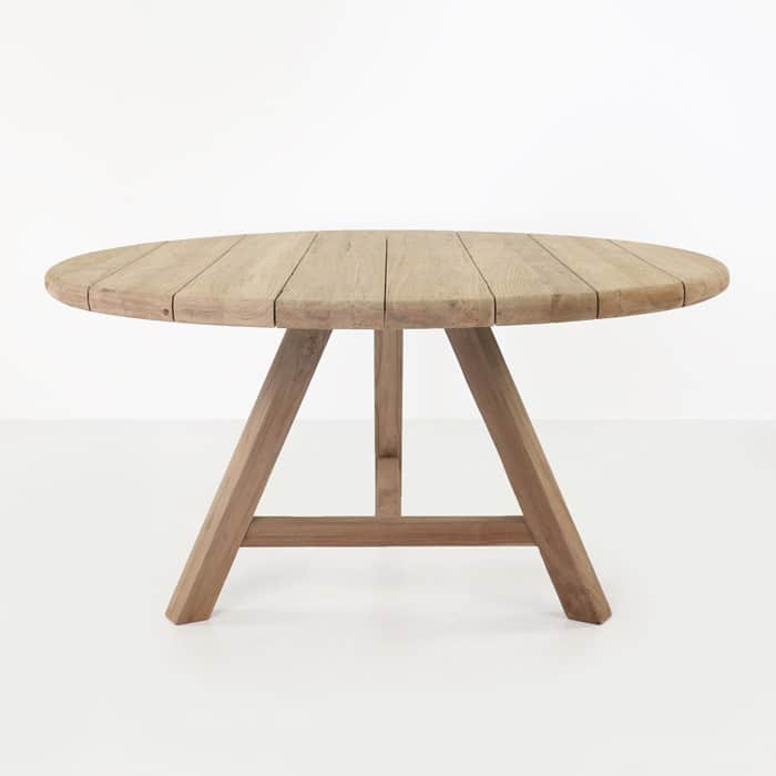 toni reclaimed teak round outdoor dining table teak