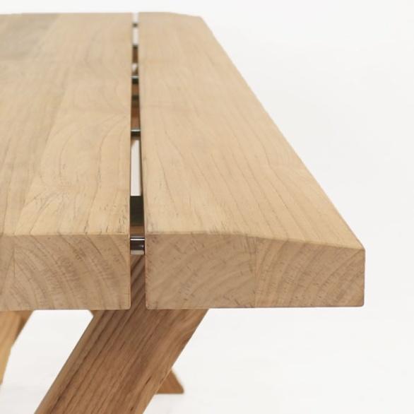 a-grade teak console table close up