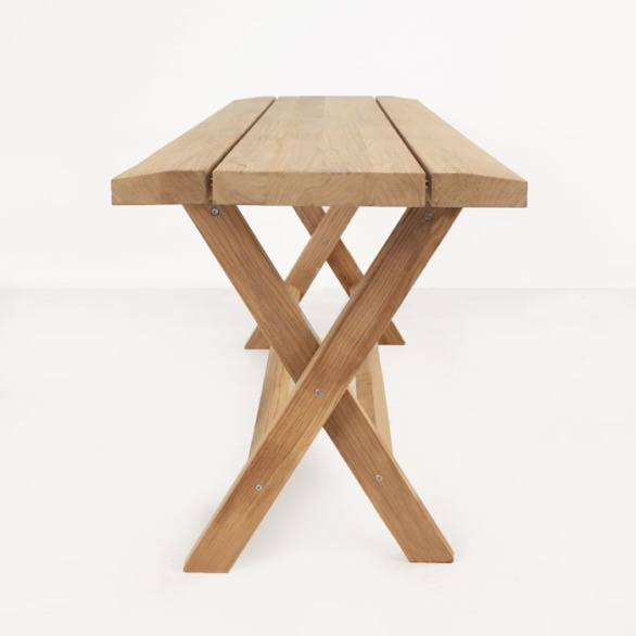 a-grade teak console table side view