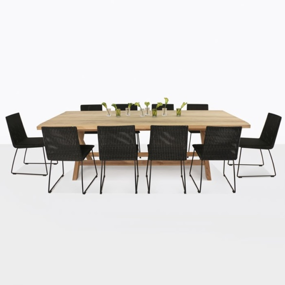 Artisan Teak and Wicker Outdoor Dining Set-0