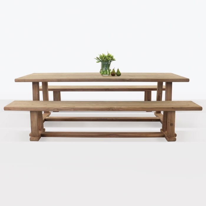 Joseph Outdoor Dining Table And Bench Set 0
