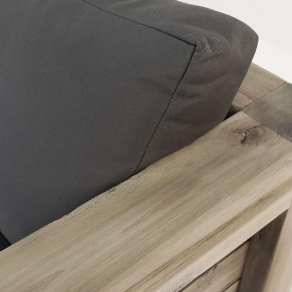 distressed teak outdoor sofa closeup