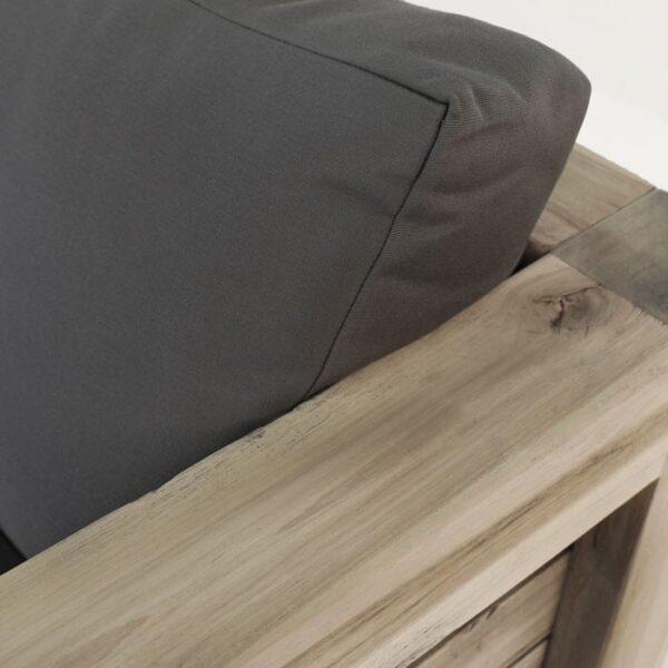 rustic distressed teak outdoor sofa closeup