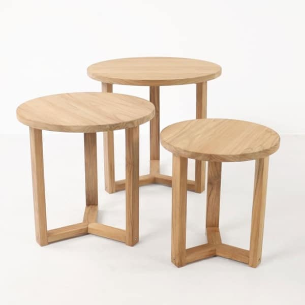 three A-grade teak accent tables