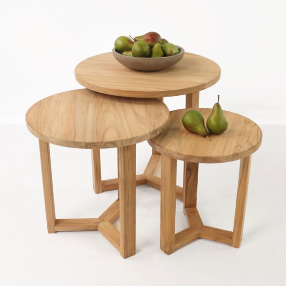 three A-grade teak accent tables with pears