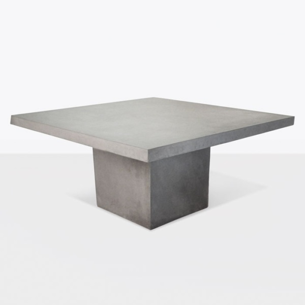 "Raw Concrete Square Pedestal Table 63""-0"