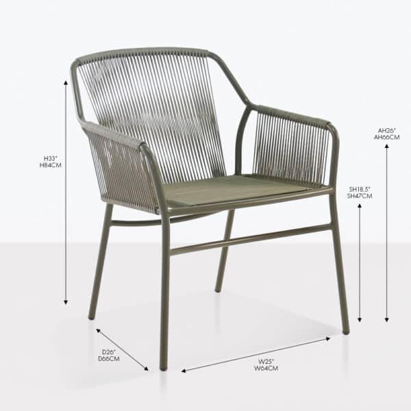 phileep wicker rope dining arm chair
