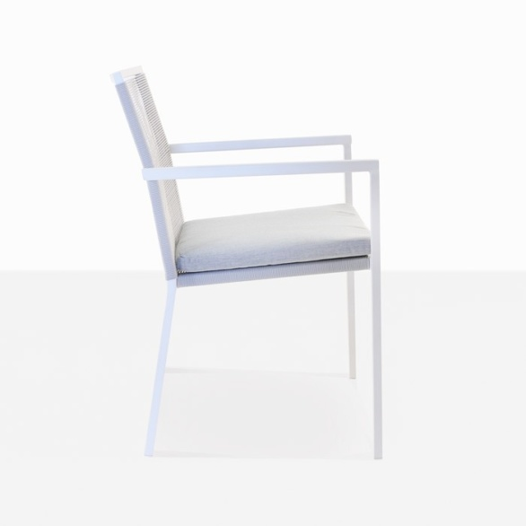 white aluminum outdoor dining chair