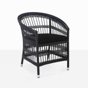 black outdoor wicker dining chair