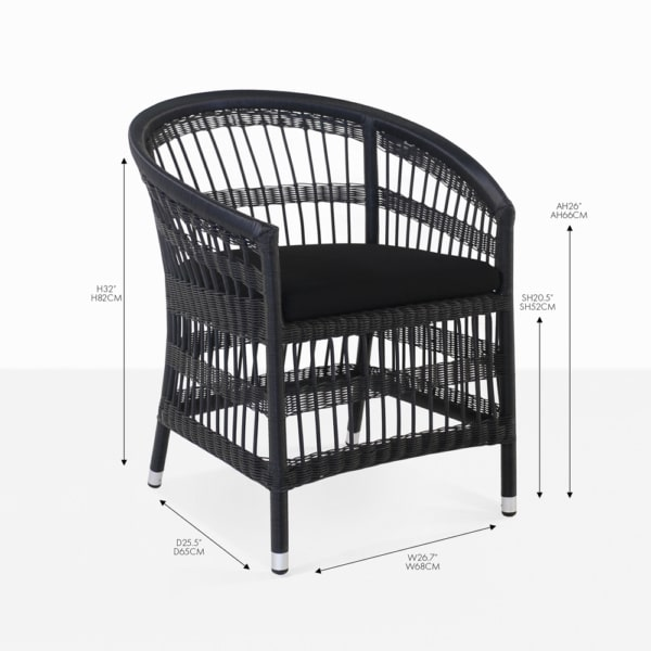 sahara black wicker dining chair