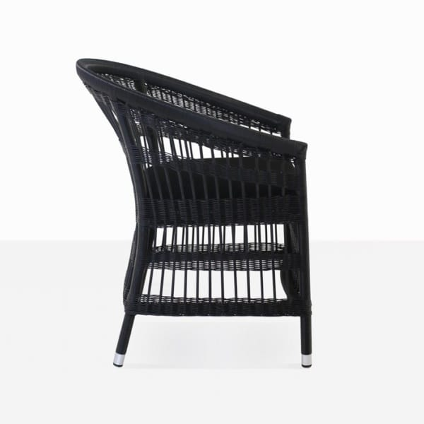 black wicker dining chair side view