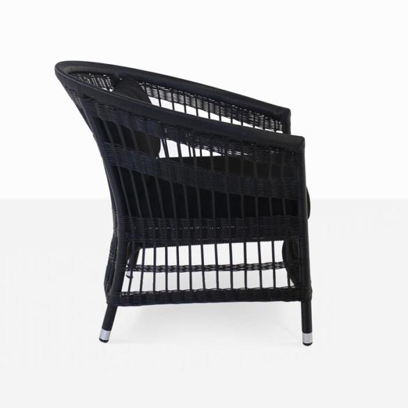 black wicker outdoor relaxing chair