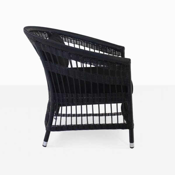 black wicker outdoor relaxing chair