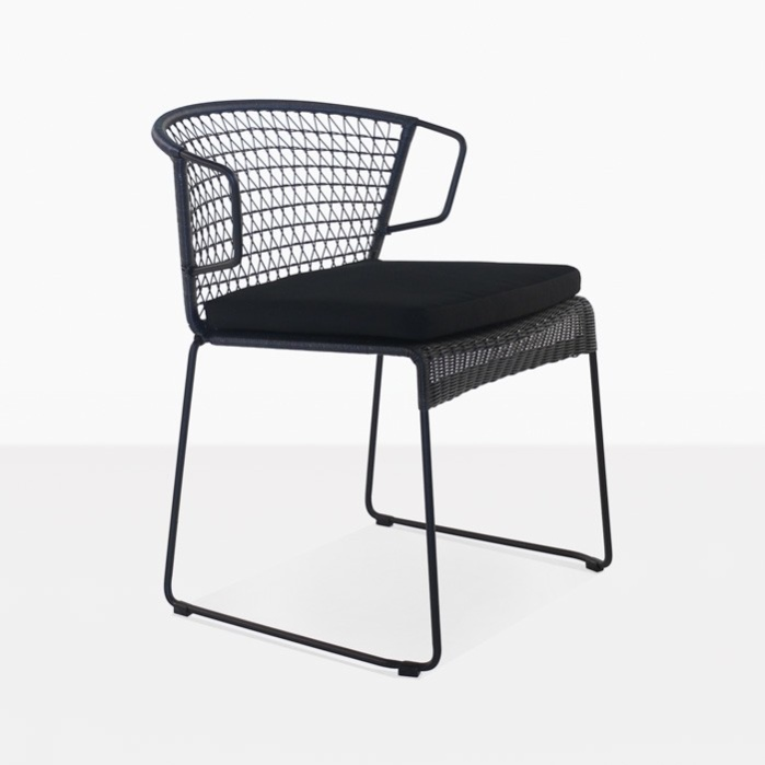 Sophia Outdoor Wicker Dining Chair (Black)-0