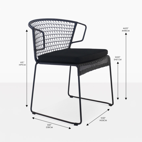 sophia black wicker dining chair