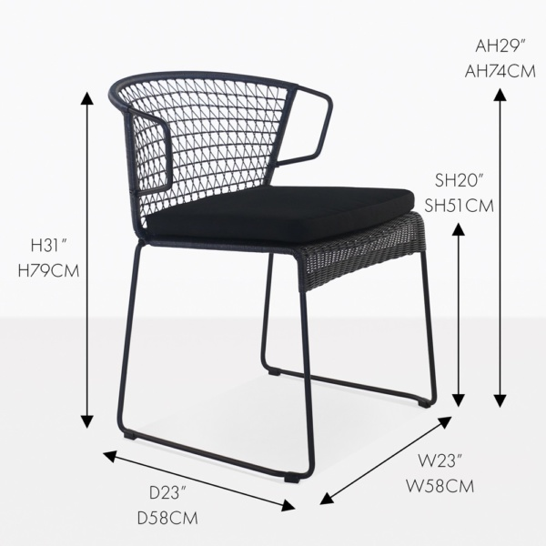 sophia black wicker dining chair