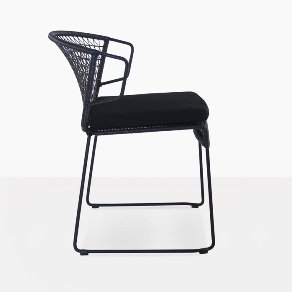 wicker and steel outdoor dining chair