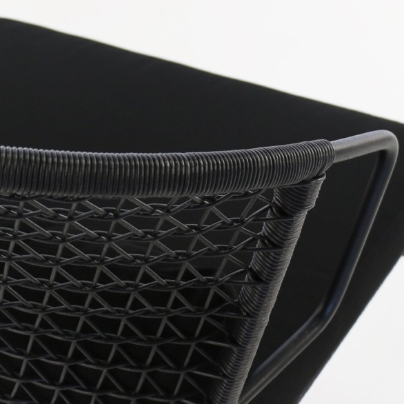 black wicker and steel chair closeup