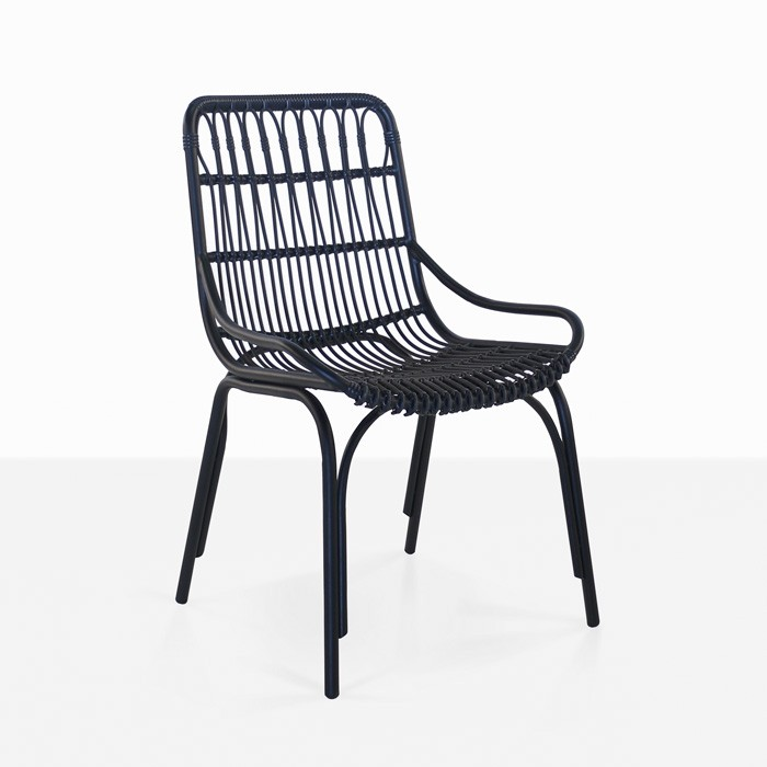Sydney Outdoor Wicker Dining Chair Black Teak Warehouse