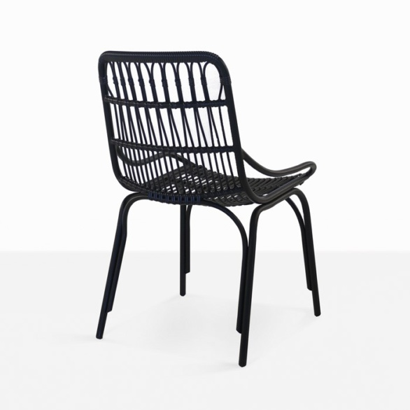 black wicker outdoor dining chair