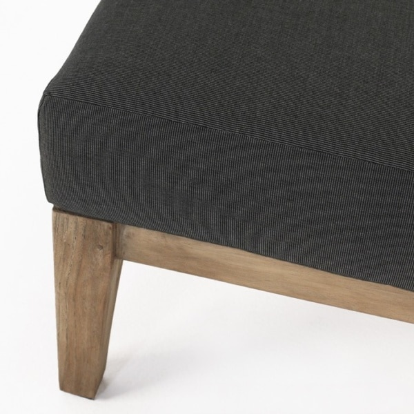 reclaimed teak ottoman with sunbrella cushion