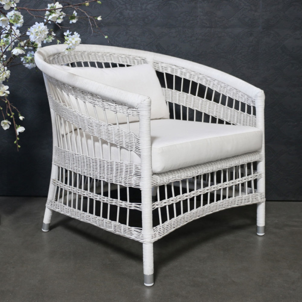 Sahara White Wicker Relaxing Chair In Showroom