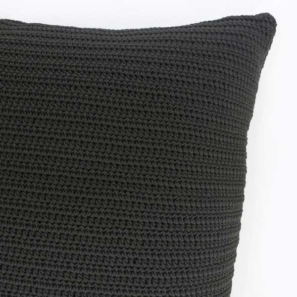 Gigi Square Crochet Pillow in Black outdoor throw closeup image