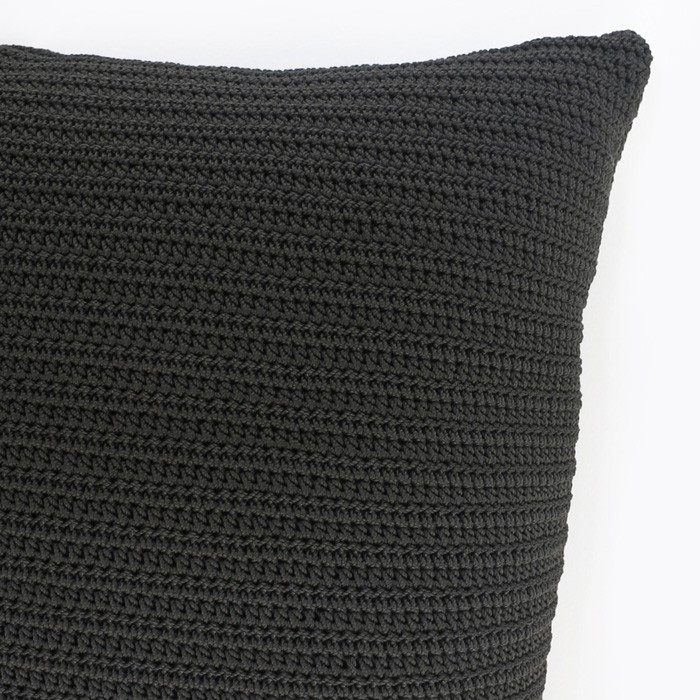 Gigi Square Crochet Pillow (Black) | Teak Warehouse