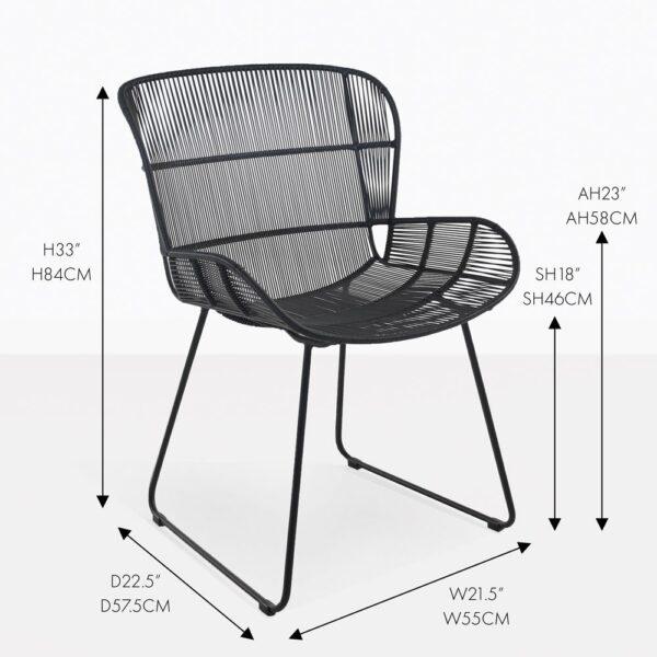 nairobi black wicker outdoor dining chair measurements