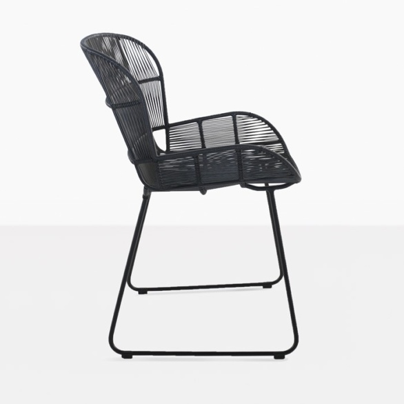 black wicker and steel dining chair side view