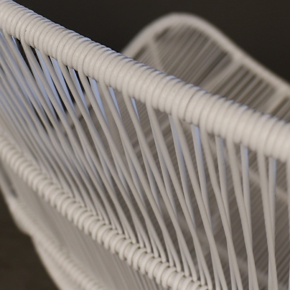 Nairobi Woven Outdoor Relaxing Chair White wicker woven image closeup