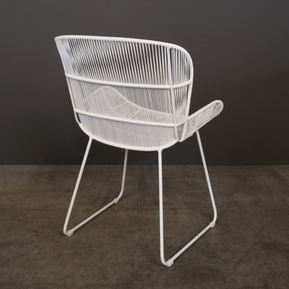 Nairobi Woven Outdoor Dining Chair White back view