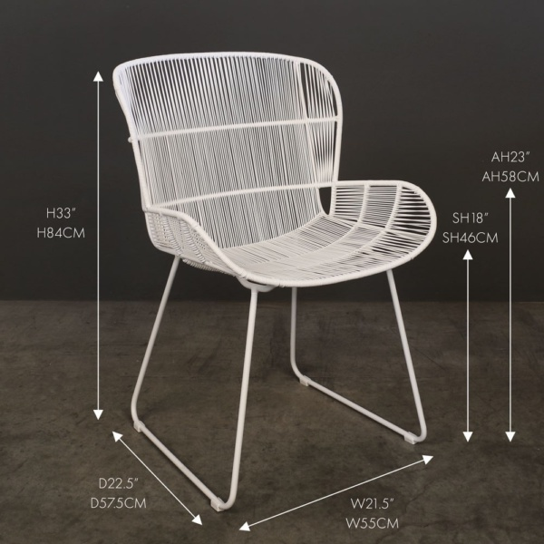 nairobi white wicker outdoor dining chair measurements