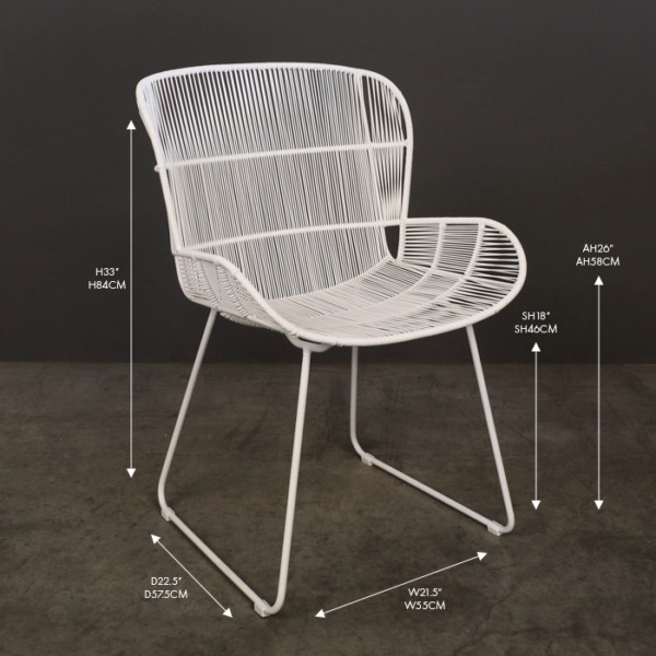 Nairobi white wicker dining arm chair
