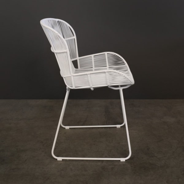 Nairobi Woven Outdoor Dining Chair White side photo