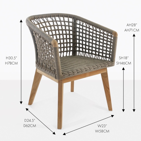 ravoli rope and teak dining chair