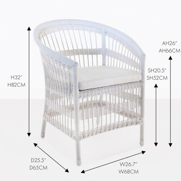 sahara white wicker dining chair